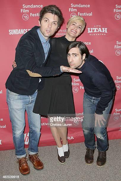 Actors Adam Scott Judith Godreche and Jason Schwartzman arrive at 'The Overnight' premiere during the 2015 Sundance Film Festival on January 23 2015...