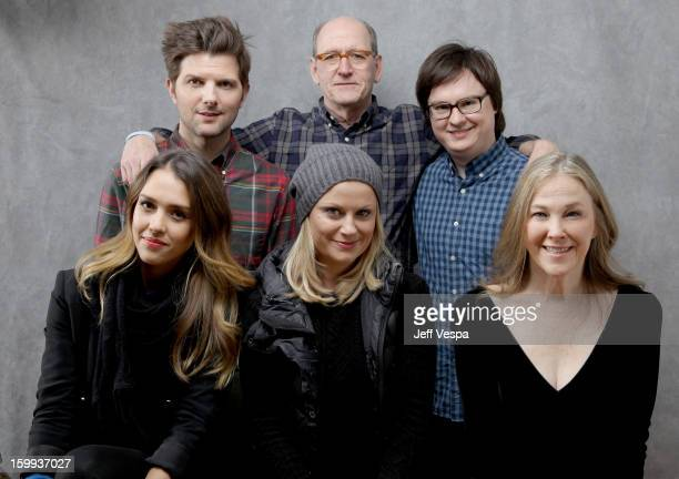 Actors Adam Scott Richard Jenkins Clark Duke Jessica Alba Amy Poehler and Catherin O'Hara pose for a portrait during the 2013 Sundance Film Festival...