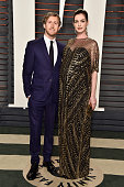 Actors Adam Shulman and Anne Hathaway attends the 2016 Vanity Fair Oscar Party Hosted By Graydon Carter at the Wallis Annenberg Center for the...