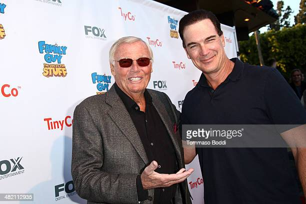 Actors Adam West and Patrick Warburton attend the Family Guy mobile game launch party held at the Happy Ending Bar on April 2 2014 in Hollywood...