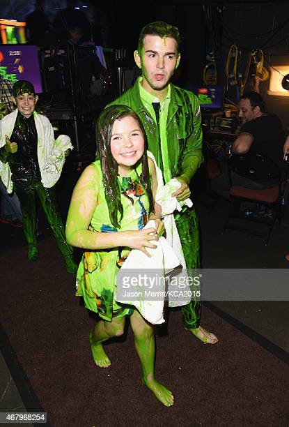 Actors Addison Riecke and Jack Griffo after getting slimed onstage attend Nickelodeon's 28th Annual Kids' Choice Awards held at The Forum on March 28...