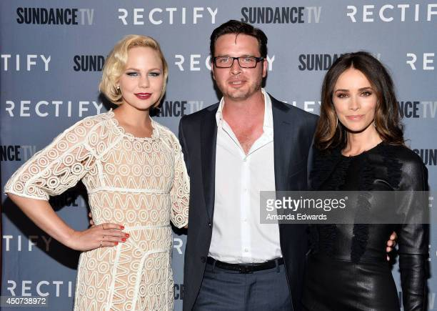 Actors Adelaide Clemens Aden Young and Abigail Spencer arrive at the SundanceTV series 'Rectify' Season 2 premiere at the Sundance Sunset Cinema on...