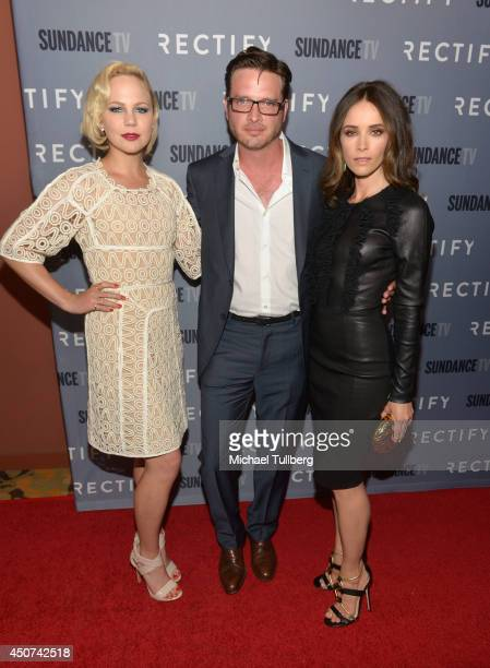 Actors Adelaide Clemens Aden Young and Abigail Spencer attend Sundance TV's Season 2 premiere of 'RECTIFY' at Sundance Sunset Cinema on June 16 2014...