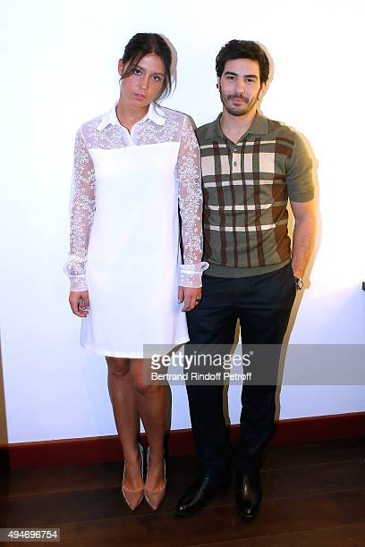 Actors Adele Exarchopoulos and Tahar Rahim present the Movie 'Les Anarchistes' during the 'Vivement Dimanche' French TV Show at Pavillon Gabriel on...
