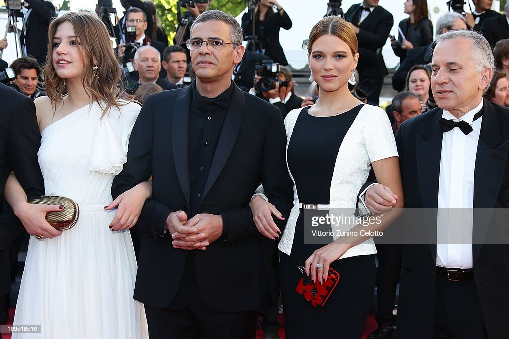 Actors Adele Exarchopoulos, director Abdellatif Kechiche, actress Lea Seydoux and producer Brahim Chioua attend the 'Zulu' Premiere and Closing Ceremony during the 66th Annual Cannes Film Festival at the Palais des Festivals on May 26, 2013 in Cannes, France.