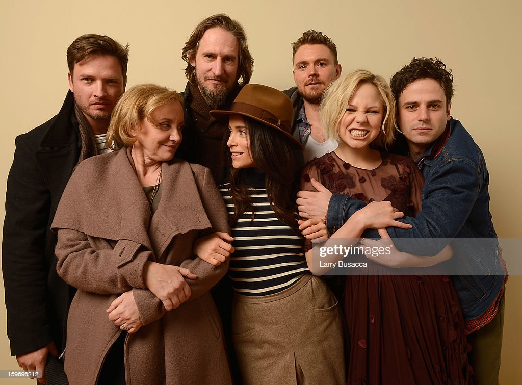 Actors Aden Young and J. Smith-Cameron, director Raymond McKinnon, actors Abigail Spencer, Clayne Crawford, Adelaide Clemens and Luke Kirby pose for a portrait during the 2013 Sundance Film Festival at the Getty Images Portrait Studio at Village at the Lift on January 18, 2013 in Park City, Utah.