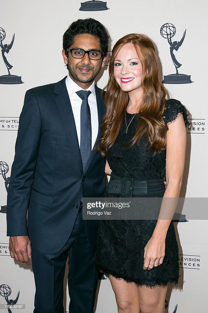 Actors Adhir Kalyan (L) and Emily Wilson arrive at the 40th Annual Daytime Emmy Nominees Cocktail Reception at Montage Beverly Hills on June 13, 2013 in Beverly Hills, California.