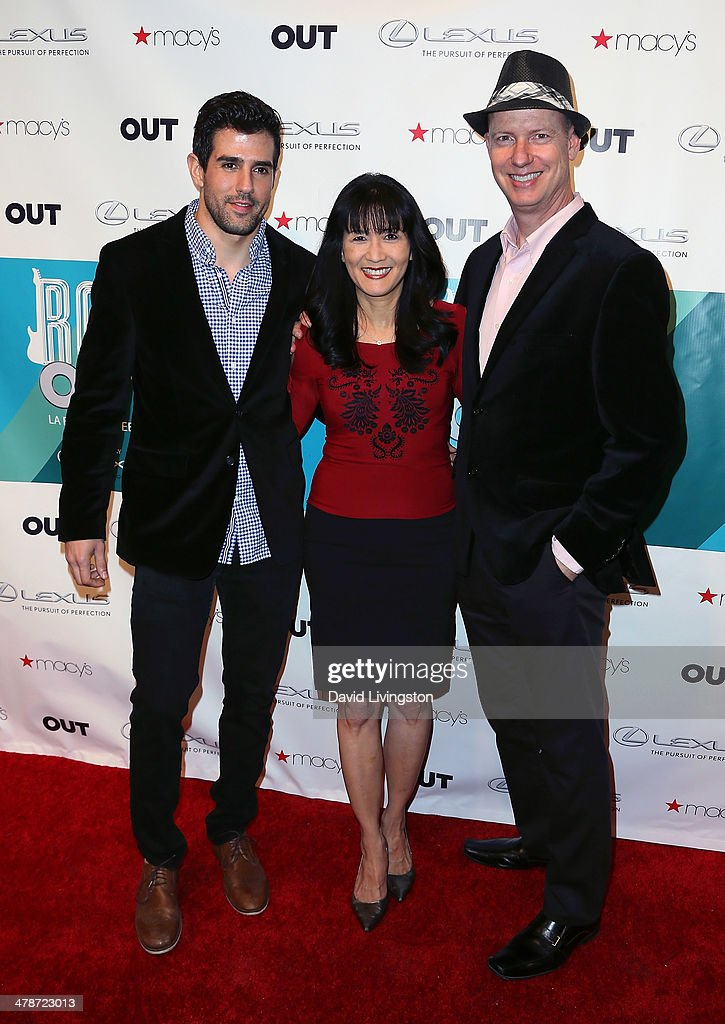 Actors Adrian Gonzalez, Suzanne Whang and Terry Ray attend Out Magazine's Rock OUT event to kick off Los Angeles Fashion Week at Siren Studios on March 7, 2014 in Hollywood, California.