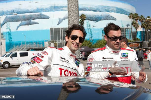 Actors Adrien Brody and Brian Austin Green attend the Toyota Pro Celebrity Race press day on April 6 2010 in Long Beach California