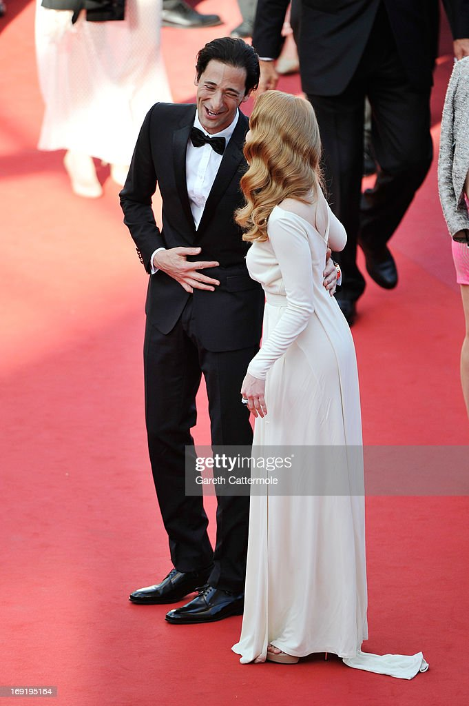 Actors Adrien Brody and Jessica Chastain attend the 'Cleopatra' premiere during The 66th Annual Cannes Film Festival at The 60th Anniversary Theatre on May 21, 2013 in Cannes, France.