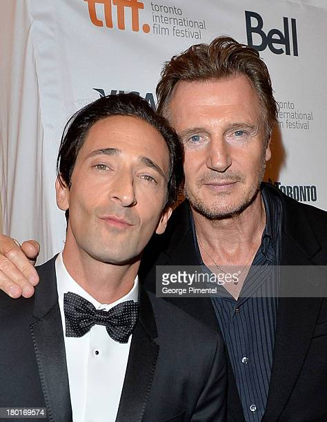 Actors Adrien Brody and Liam Neeson arrive at the 'Third Person' Premiere during the 2013 Toronto International Film Festival at The Elgin on...