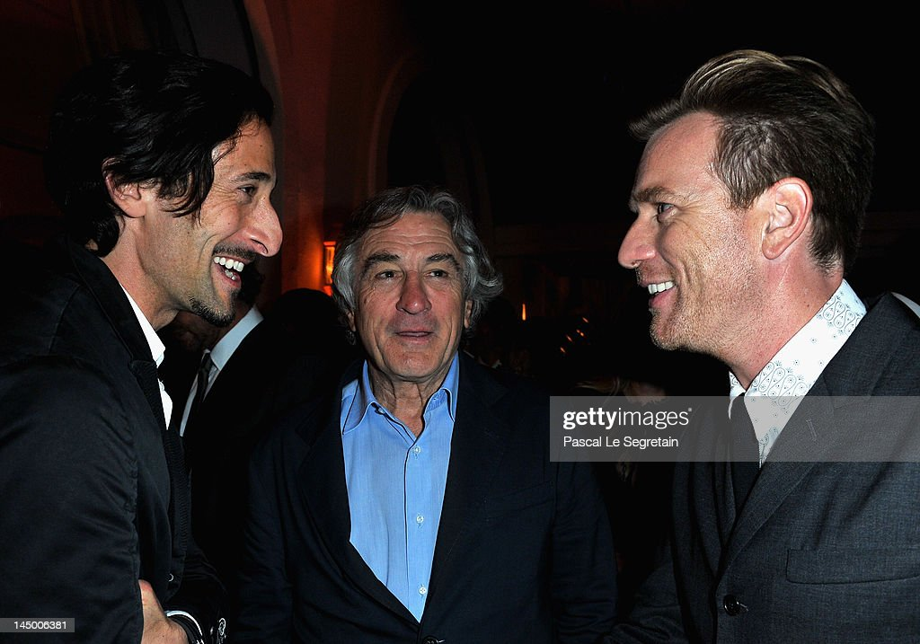 Actors <a gi-track='captionPersonalityLinkClicked' href=/galleries/search?phrase=Adrien+Brody&family=editorial&specificpeople=202175 ng-click='$event.stopPropagation()'>Adrien Brody</a>, Ewan McGregor and co-founder of the Tribeca Film Festival Robert De Niro, founder of the Tribeca Film Festival in New York, attends the exclusive Filmmakers Dinner during the Cannes International Film Festival hosted by Swiss watch manufacturer IWC Schaffhausen in partnership with Finch's Quarterly Review at the famous Hotel du Cap-Eden-Roc on May 21, 2012 in Cap d'Antibes, France.