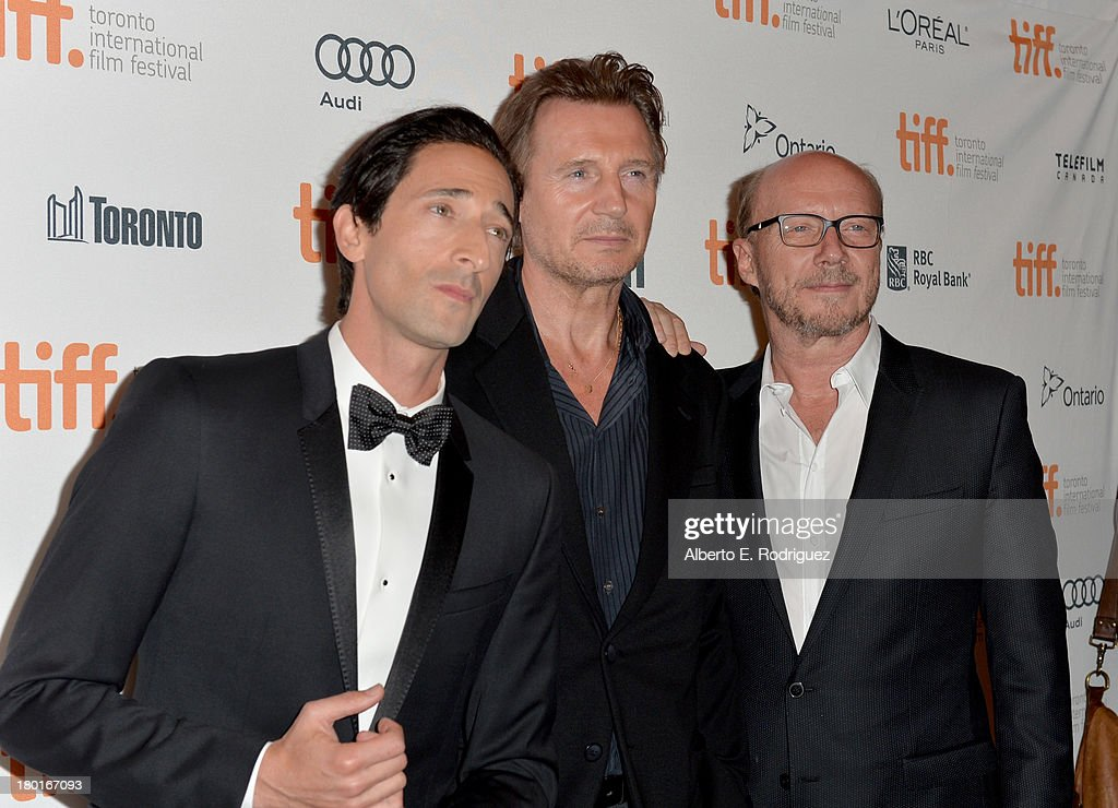 Actors <a gi-track='captionPersonalityLinkClicked' href=/galleries/search?phrase=Adrien+Brody&family=editorial&specificpeople=202175 ng-click='$event.stopPropagation()'>Adrien Brody</a>, <a gi-track='captionPersonalityLinkClicked' href=/galleries/search?phrase=Liam+Neeson&family=editorial&specificpeople=202030 ng-click='$event.stopPropagation()'>Liam Neeson</a> and director <a gi-track='captionPersonalityLinkClicked' href=/galleries/search?phrase=Paul+Haggis&family=editorial&specificpeople=213967 ng-click='$event.stopPropagation()'>Paul Haggis</a> arrive at the 'Third Person' Premiere during the 2013 Toronto International Film Festival at The Elgin on September 9, 2013 in Toronto, Canada.