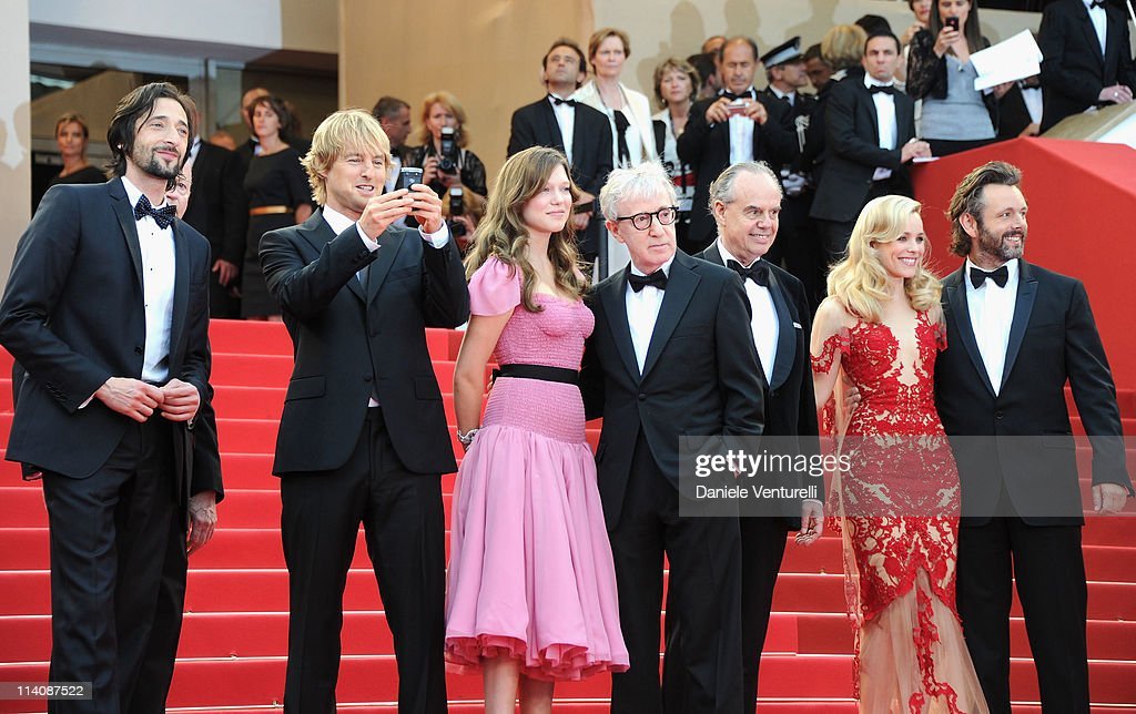 Actors Adrien Brody, Owen Wilson, Lea Seydoux, Director Woody Allen, Frederic Mitterrand , Rachel McAdams and Michael Sheen attend the Opening Ceremony and 'Midnight In Paris' Premiere at the Palais des Festivals during the 64th Cannes Film Festival on May 11, 2011 in Cannes, France.