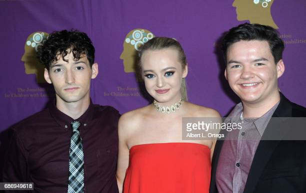 Actors Aedin Mincks model Savannah Kennick and Austin Mincks arrive for The Jonathan Foundation Presents The 2017 Spring Fundraising Event To Benefit...