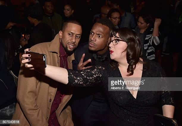 Actors Affion Crockett Marlon Wayans and Jenny Zigrino attend the after party for the premiere of Open Road Films' 'Fifty Shades of Black' at Regal...