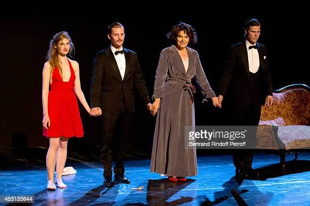 Actors Agathe Bonitzer Nicolas Duvauchelle Fanny Ardant and JeanBaptiste Jafarge during the final greeting of 'Des journees entieres dans les arbres'...