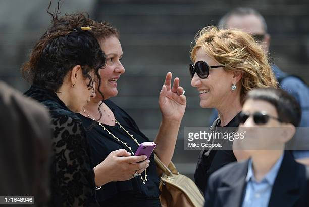 Actors Aida Turturro and Edie Falco attend the funeral for actor James Gandolfini at The Cathedral Church of St John the Divine on June 27 2013 in...