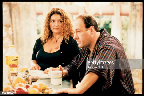 Actors Aida Turturro and James Gandolfini chatting in a scene from the HBO TV series The Sopranos