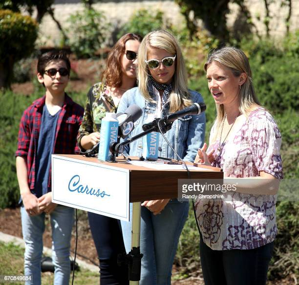 Actors Aidan Gallagher Anna Schafer Sarah Wright Olsen and Amy Smart attend Caruso hosts a community garden in honor of Earth Day in partnership with...