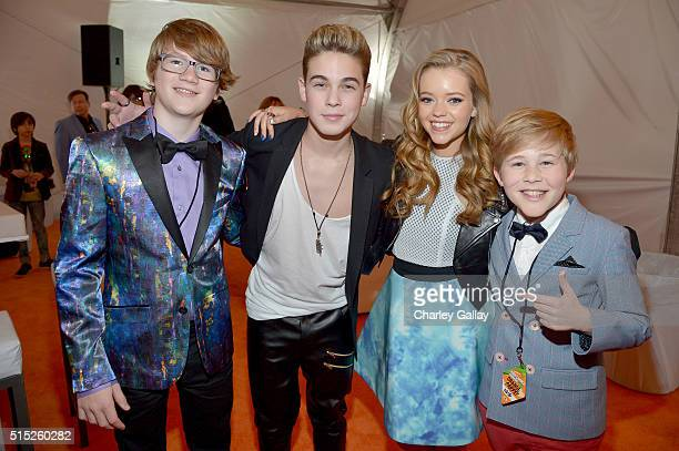 Actors Aidan Miner Ricardo Hurtado Jade Pettyjohn and Casey Simpson attend Nickelodeon's 2016 Kids' Choice Awards at The Forum on March 12 2016 in...