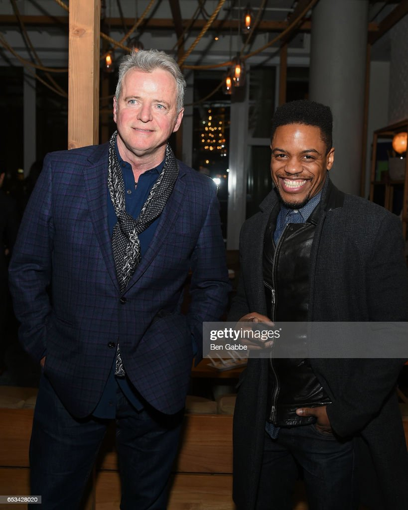 Actors Aidan Quinn (L) and Jon Michael Hill attend the after party for the TriStar and Cinema Society screening of 'T2 Trainspotting' at Mr. Purple at the Hotel Indigo LES on March 14, 2017 in New York City.