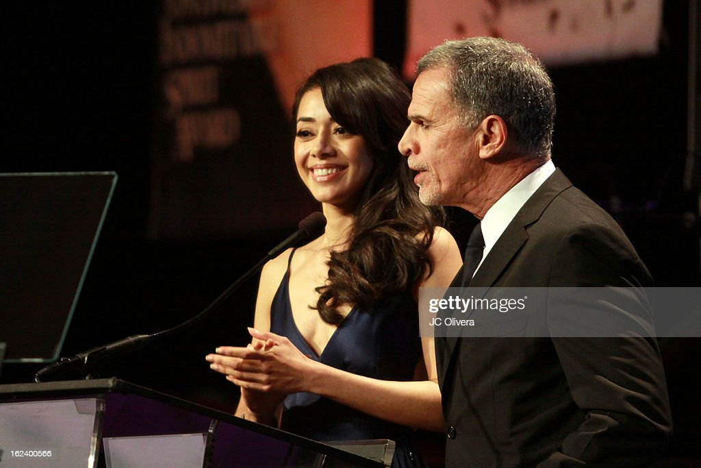 Actors Aimee Garcia (L) and Tony Plana host the National Hispanic Media Coalition's 16th Annual Impact Awards Gala at the Beverly Wilshire Four Seasons Hotel on February 22, 2013 in Beverly Hills, California.