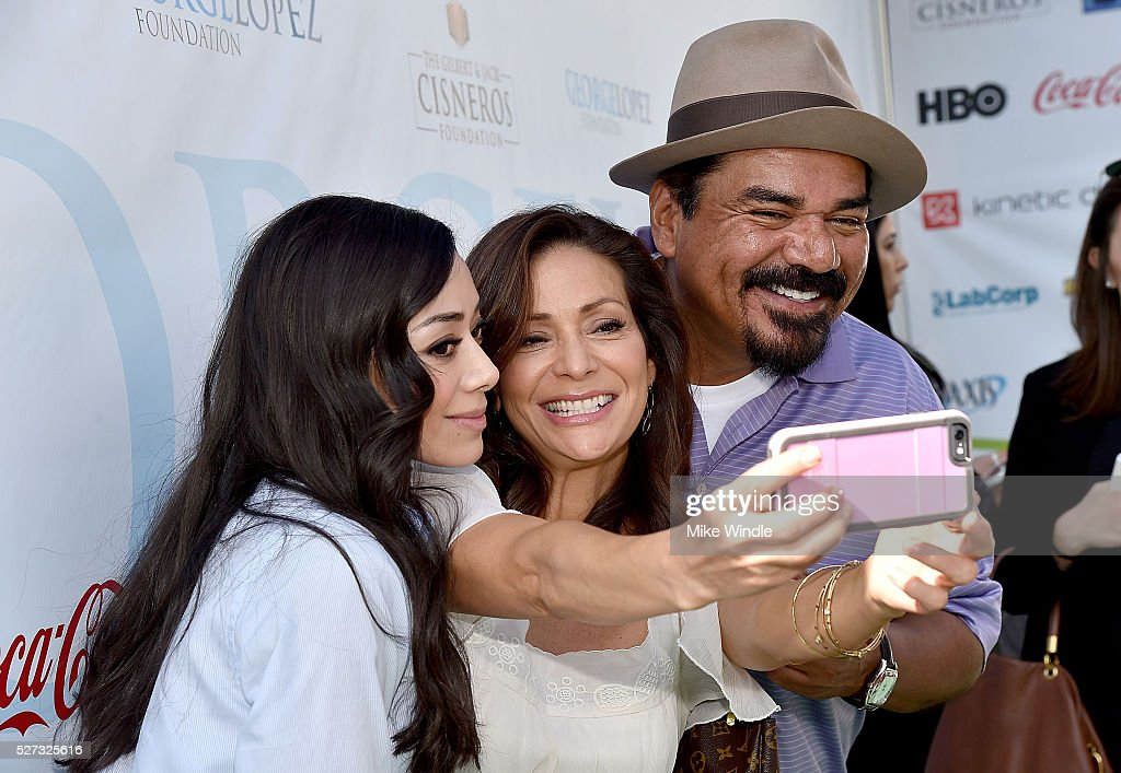 Actors Aimee Garcia, Constance Marie and George Lopez attend the 9th Annual George Lopez Celebrity Golf Classic to benefit The George Lopez Foundation at Lakeside Golf Club on May 2, 2016 in Burbank, California.