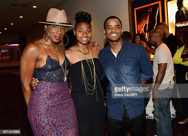 Actors Aisha Hinds Zuri Ali and Larenz Tate attend the BETX Film Festival presented by Geico during the 2014 BET Experience At LA LIVE on June 28...