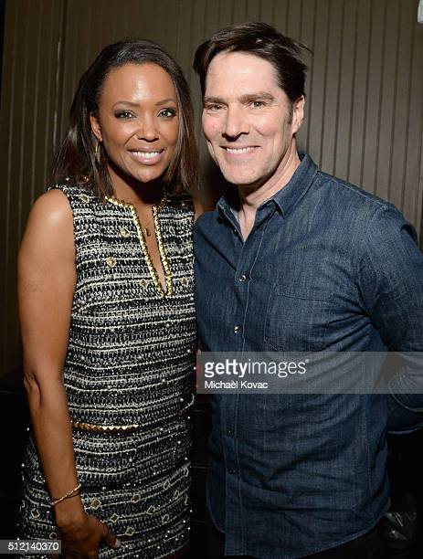 Actors Aisha Tyler and Thomas Gibson attend The Irish Film Board and IDA celebrating the success of Irish cinema at Laurel Hardware on February 24...