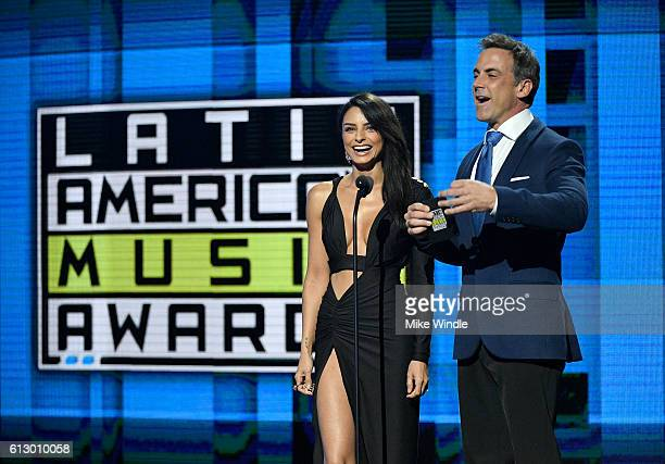 Actors Aislinn Derbez and Carlos Ponce speak onstage during the 2016 Latin American Music Awards at Dolby Theatre on October 6 2016 in Hollywood...
