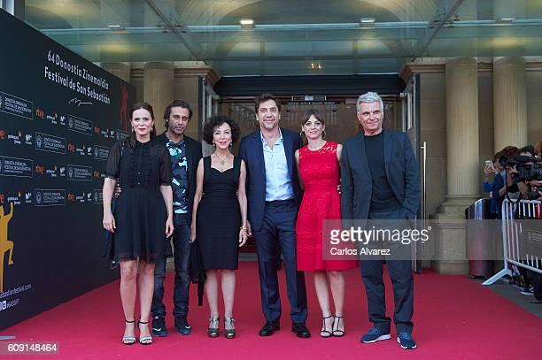 Actors Aitana Sanchez Gijon Jordi Molla Celia Oros Javier Bardem Leonor Watling and Carles Sans attend 'Bigas X Bigas' premiere during 64th San...