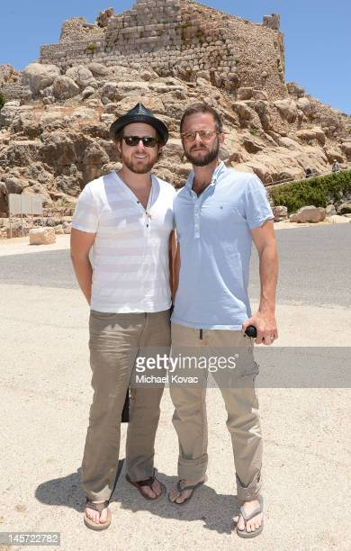 Actors AJ Buckley and Carmine Giovinazzo visit the Nimrod Fortress on June 1 2012 in Golan Heights Israel