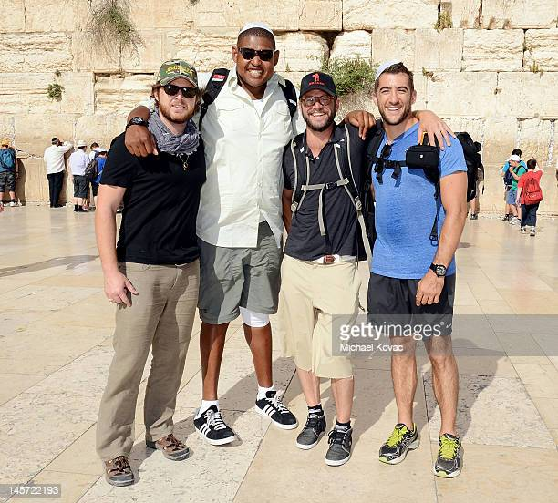 Actors AJ Buckley Omar Benson Miller Carmine Giovinazzo and Jonathan Togo visit the Western Wall on June 4 2012 in Jerusalem Israel