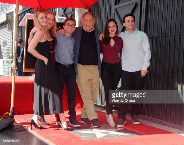 Actors AJ Michalka Wendi McLendonCovey Sean Giambrone George Segal Hayley Orrantia and Troy Gentile at the Gorge Segal Star Ceremony at The Hollywood...