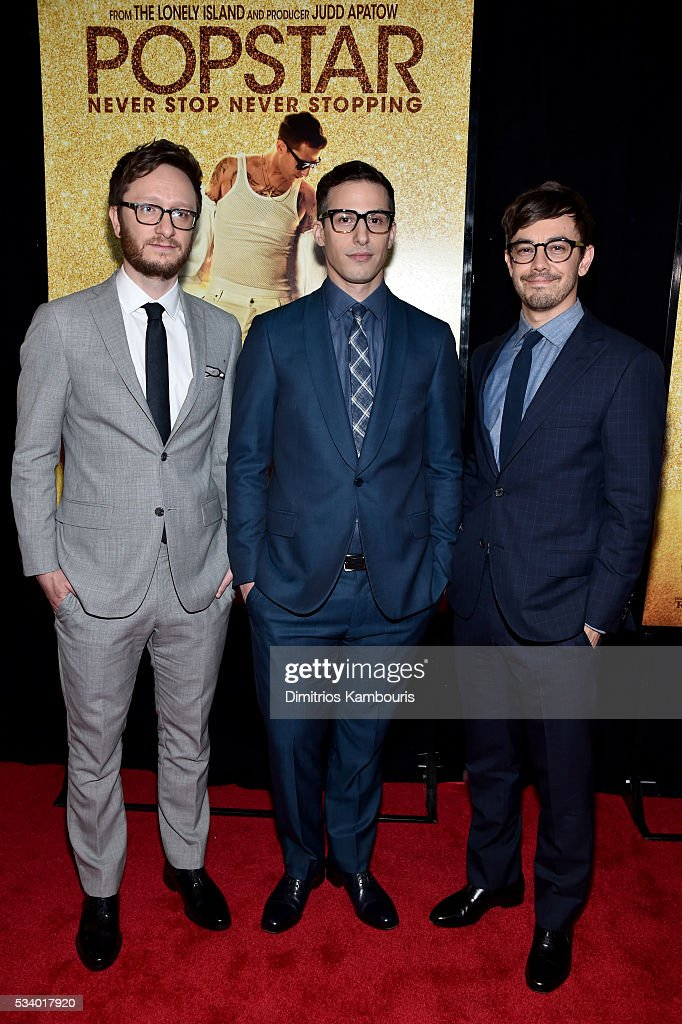 Actors <a gi-track='captionPersonalityLinkClicked' href=/galleries/search?phrase=Akiva+Schaffer&family=editorial&specificpeople=4378588 ng-click='$event.stopPropagation()'>Akiva Schaffer</a>, Andy Samber and <a gi-track='captionPersonalityLinkClicked' href=/galleries/search?phrase=Jorma+Taccone&family=editorial&specificpeople=4432803 ng-click='$event.stopPropagation()'>Jorma Taccone</a> attend 'Popstar: Never Stop Never Stopping' premiere at AMC Loews Lincoln Square 13 theater on May 24, 2016 in New York City.