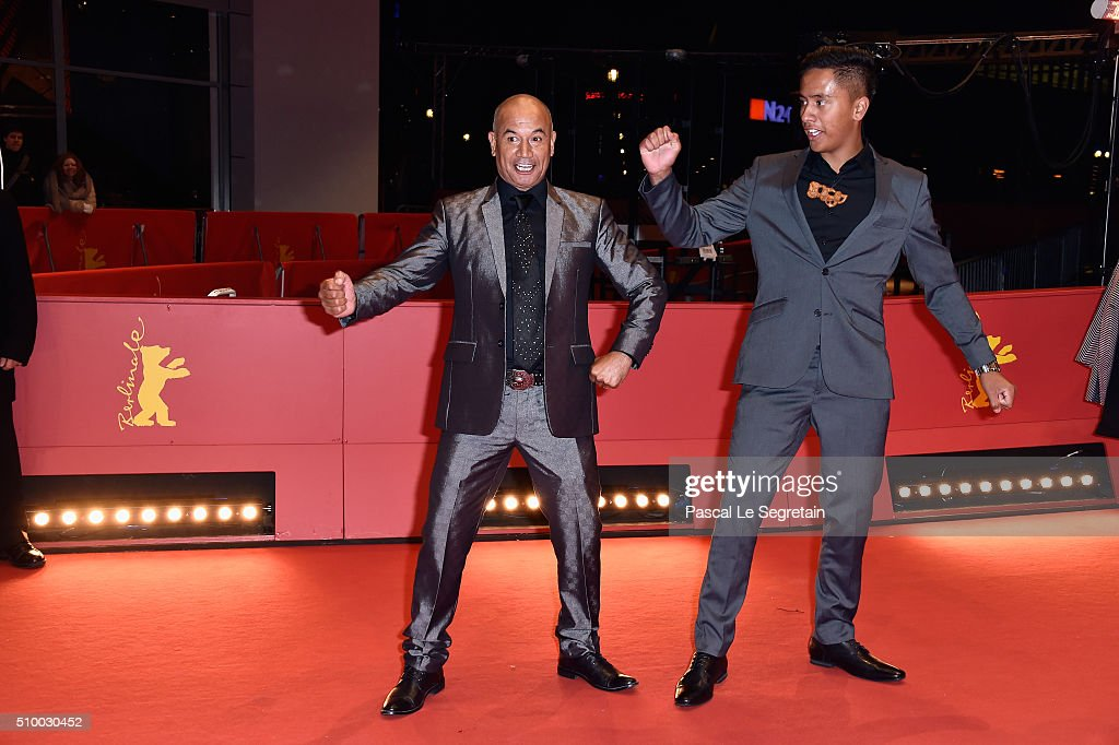 Actors Akuhata Keefe and <a gi-track='captionPersonalityLinkClicked' href=/galleries/search?phrase=Temuera+Morrison&family=editorial&specificpeople=4754416 ng-click='$event.stopPropagation()'>Temuera Morrison</a> dance as they attend the 'The Patriarch' (Mahana) premiere during the 66th Berlinale International Film Festival Berlin at Berlinale Palace on February 13, 2016 in Berlin, Germany.