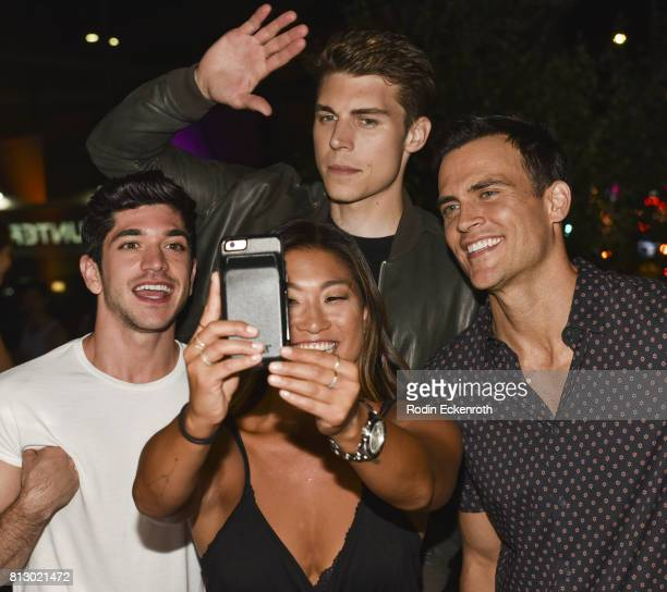 Actors Al Calderon Jenna Ushkowitz Nolan Gerard Funk and Cheyenne Jackson the 2017 Outfest Los Angeles LGBT Film Festival Screening of 'Hello Again'...