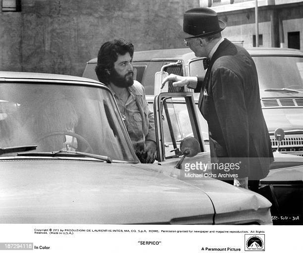 Actors Al Pacino and Biff McGuire on set of the Paramount Pictures movie 'Serpico' in 1973
