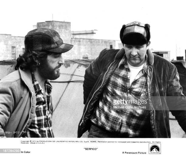 Actors Al Pacino and Edward Grover on set of the Paramount Pictures movie 'Serpico' in 1973