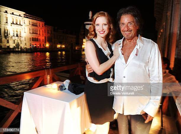Actors Al Pacino and Jessica Chastain attend the dinner in honour of Al Pacino hosted by Angelo Galasso and Centurion Palace at Centurion Palace on...