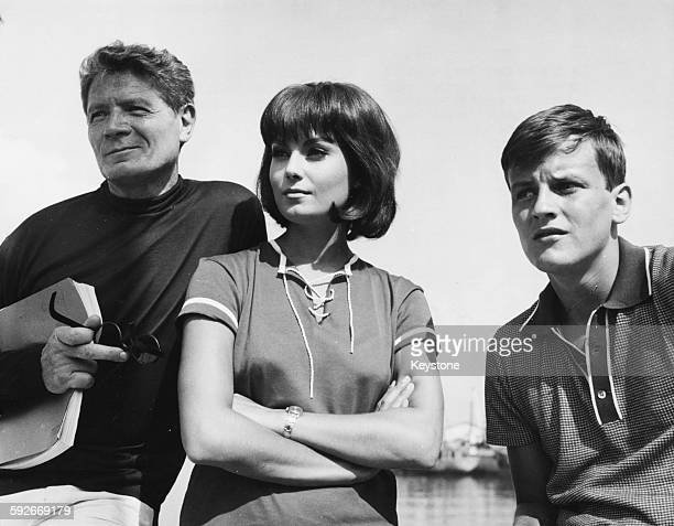 Actors Alain Cuny Rossana Schiaffino and Jacques Perrin at a press reception for their film 'Corruption' in Anzio near Rome July 30th 1963