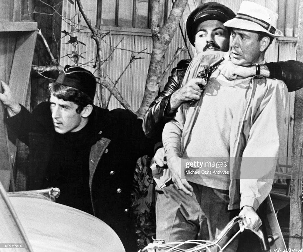 Actors Alan Arkin and Carl Reiner on set of the movie 'The Russians Are Coming the Russians Are Coming' in 1966