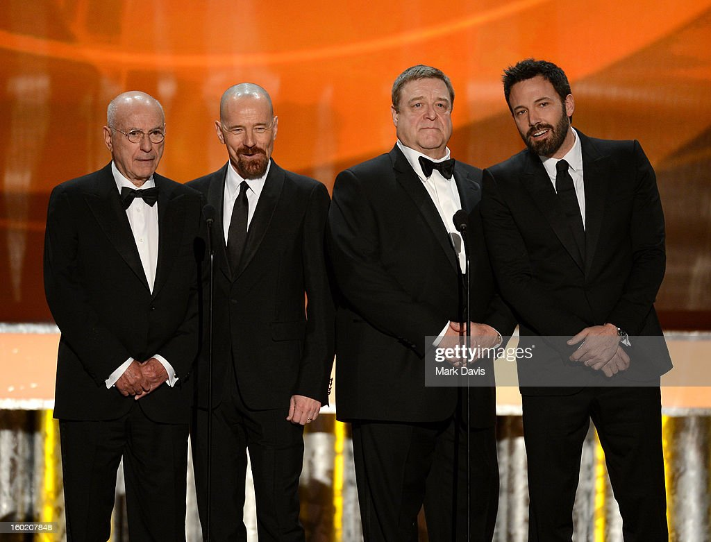 Actors Alan Arkin Bryan Cranston John Goodman and Ben Affleck onstage during the 19th Annual Screen Actors Guild Awards held at The Shrine Auditorium...