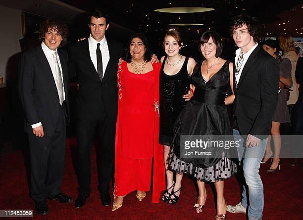 Actors Alan Davies Steve Jones director Gurinder Chadha actresses Georgia Groome Karen Taylor and actor Aaron Johnson attend the Angus Thongs and...