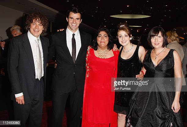 Actors Alan Davies Steve Jones director Gurinder Chadha actresses Georgia Groome and Karen Taylor attend the Angus Thongs and Perfect Snogging film...