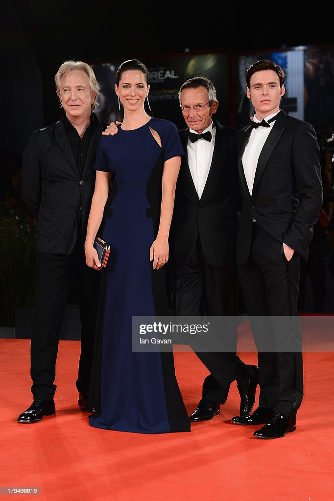 Actors Alan Rickman Rebecca Hall director Patrice Leconte and actor Richard Madden attend the 'Une Promesse' Premiere during the 70th Venice...