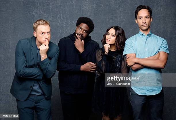 Actors Alan Tudyck Ron Funches Vanessa Hudgens and Danny Pudi of 'Powerless' are photographed for Los Angeles Times at San Diego Comic Con on July 22...