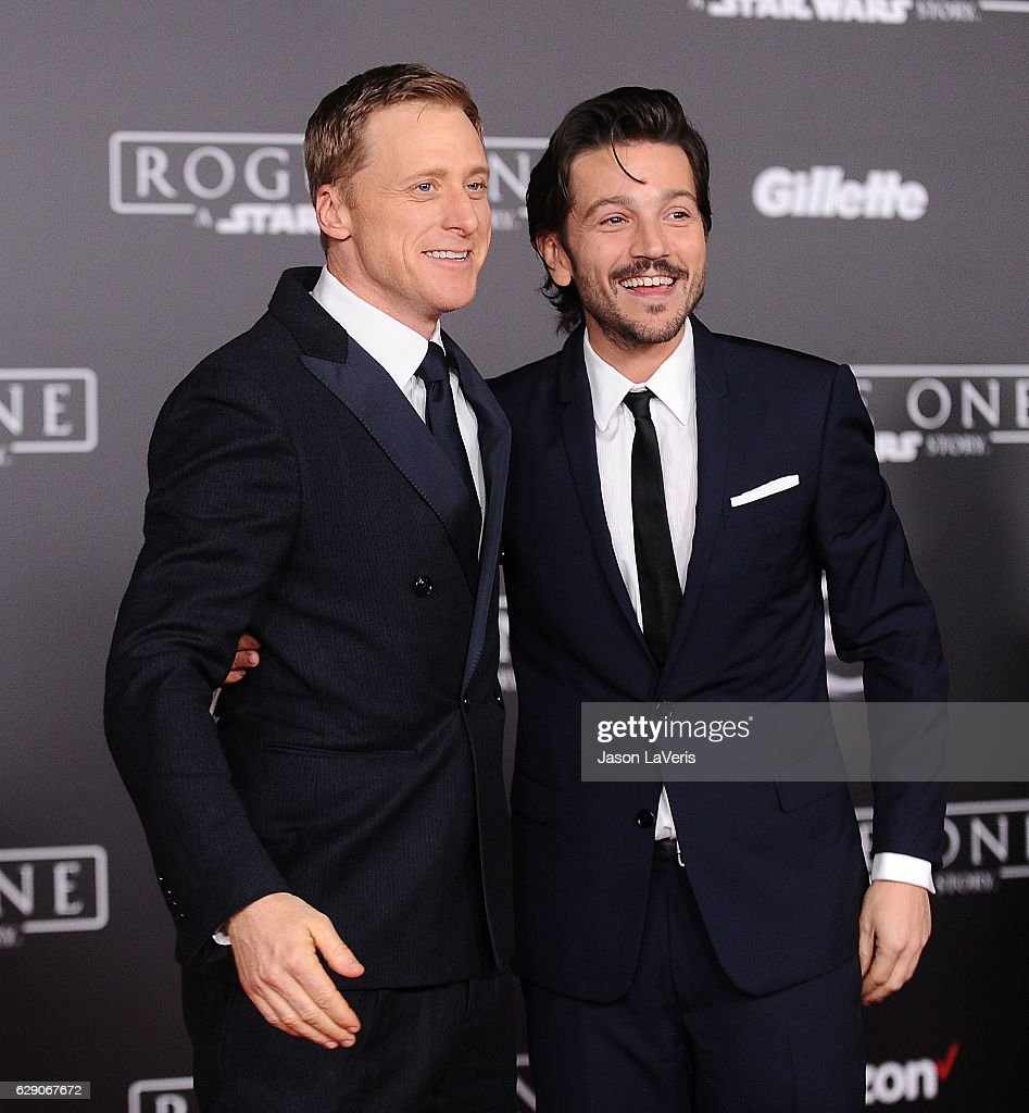 Actors Alan Tudyk and Diego Luna attend the premiere of 'Rogue One: A Star Wars Story' at the Pantages Theatre on December 10, 2016 in Hollywood, California.