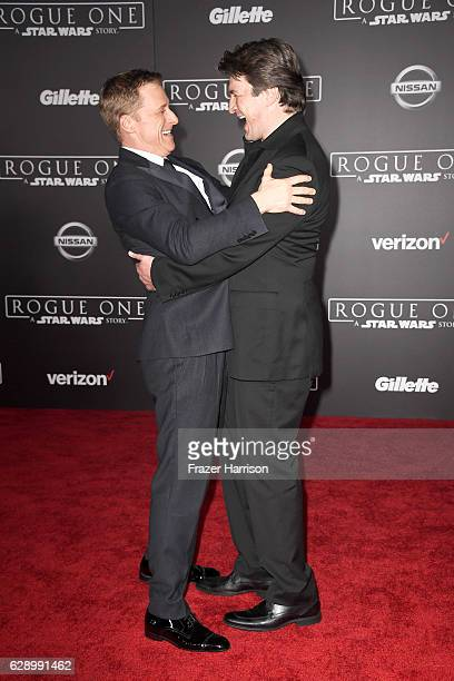 Actors Alan Tudyk and Nathan Fillion attend the premiere of Walt Disney Pictures and Lucasfilm's 'Rogue One A Star Wars Story' at the Pantages...